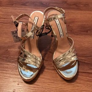 Zara Gold Strappy Sandal Heels 36 NWT